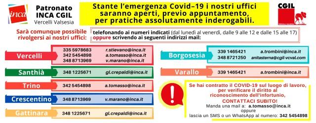 coronavirus Contatti INCA - COVID19 - orizzontale